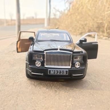 XLG 1/24仿真原厂劳斯莱斯幻影合金车模声光玩具六开门小汽车模型摆件 劳斯莱斯-黑色