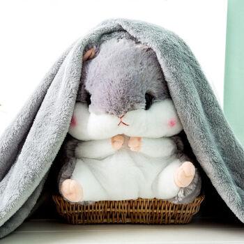 仓鼠抱枕520情人节礼物,灰色仓鼠+法兰绒毯1*1.7米+送毛绒玫瑰花